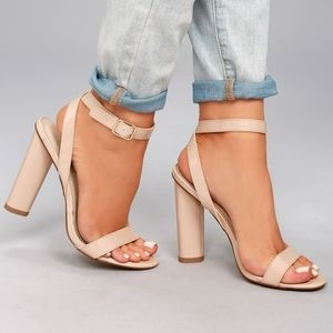 LULUS NUDE PATENT PATENT ANKLE STRAP HEELS- SZ 6.5